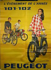Affiche Cycle moto Peugeot 101 102 mobilette motocyclette 1970's