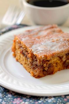 Pumpkin Honey Bun Cake  My husband and I absolutely loved this cake. The gooey brown sugar and walnut filling in the center of a moist pumpkin cake topped with a simple glaze gave us the taste of Fall we were craving.