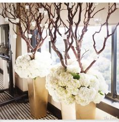 I love everything about this. White hydrangeas in gold urns/containers with thick manzanita branches adding height. Also like the hanging candles!