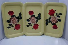 3 Vintage Floral Metal Tin Coaster Serving Snack Yellow w/ Roses  Trays 14 x 9