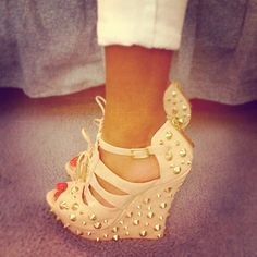 nude spiked wedges