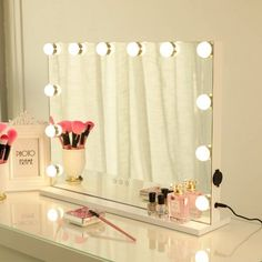 Lighted Vanity Mirror, Vanity Set With Mirror, Makeup Mirror With Lights, Wall Mounted Mirror, White Vanity With Lights, Vanity Mirror Ikea, Diy Makeup Mirror, Vanity Table With Lights, Light Up Vanity