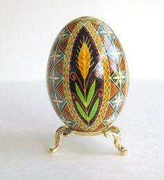 Goose Egg, Pysanka ukrainian Easter egg, decorated goose egg shell, batik eggs.