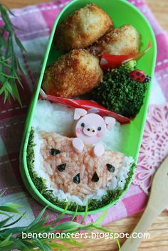 Cute Lunch with piggy  Rice, Brocolli, Chicken?  IMG_9168, via Flickr.