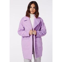 Missguided Lena Oversized Cocoon Coat ($31) ❤ liked on Polyvore featuring outerwear, coats, lilac, long purple coat, cocoon coat, oversized coat, long coat and purple coat