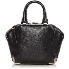 Alexander Wang Mini Emile (86430 RSD) ❤ liked on Polyvore featuring bags, handbags, black, genuine leather purse, mini purse, black leather handbags, black purse and top handle leather handbags