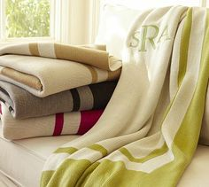 Banded Throw #potterybarn  Could go well with the chairs in the living room and couch?  its currently on sale, too!