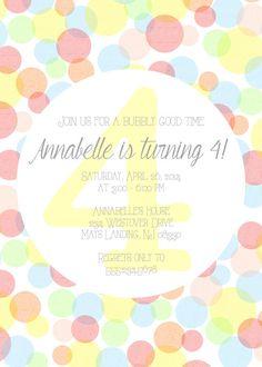Bubbles Birthday Invitation: Boy or Girl by KMThomasDesigns