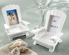 """Beach Memories"" Miniature Adirondack Chair Place Card-Photo Frames - We love these for Summer Weddings!"