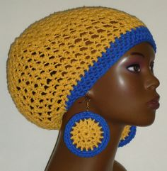 Royal Blue and Gold Crochet tam and earrings by Razonda Lee