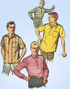 1960s-Vintage-Mens-Sports-Shirt-1962-Simplicity-Sewing-Pattern-4452-Size-X-Large