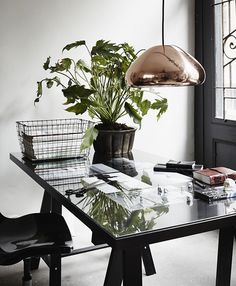 Beautiful home office with light ideas #plant #light #Home #office