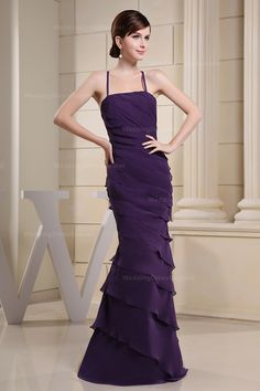Graceful Tiered Dress with Crossed Straps  Sheath/Column,Floor Length,Spaghetti Straps,Natural,Sleeveless,Pleats,Zipper,Chiffon,Spring,Summer,Fall,  US$178.98