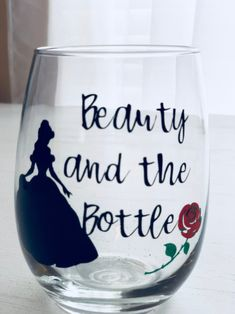 Pick your favorite princess to drink with. Glitter Wine Glasses, Stemless Wine Glasses, Painted Wine Glasses, Diy Disney Wine Glasses, Vinyl Glasses, Custom Wine Glasses, Wine Glass Sayings, Wine Glass Crafts, Wine Glass Candle Holder