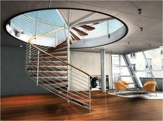 Interior , Cool Staircase Designs Adding Instant Charm To Your House Interior : Glamorous Spiral Staircase Design Idea For Contemporary Look