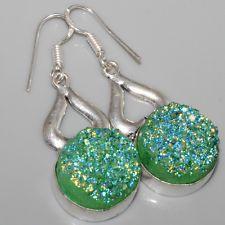 "A6737 Titanium Coated Druzy & 925 Silver Overlay Earrings 2"" Gemstone Jewellery"