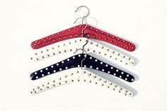 1950 hangers with rivets Red White Black// I think everyone in Germany had those!