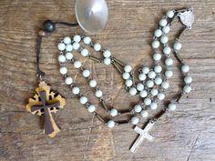 Vintage Rosary Cross Pendant Necklace, nice decorative by VintageArtStuff on Etsy Handmade Market, Handmade Gifts, Craft Sale, Cross Pendant, Great Gifts, Arts And Crafts, Pendant Necklace, Pearls, Nice
