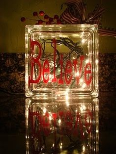 believe glass block christmas craft - Glass Block Christmas Decorations