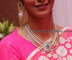 Jewellery Designs: Diamonds and Pearls Rows Choker