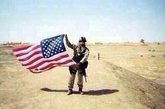 Duty, Honor, Country. A soldier and his American flag. Vote to protect this country and support every single soldier.