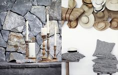 ♥hat wall, flagstone, grey, white Natural Interior, Market Baskets, Flagstone, Stone Tiles, Retail Design, Modern Rustic, Wicker, Brick, Hats