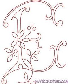 Free Pattern for Hand Embroidered Monograms: the Letter E this site has the whole alphabet of monograms very pretty. The post Free Pattern for Hand Embroidered Monograms: the Letter E this site has the whol appeared first on Decoration. Hand Embroidery Letters, Hand Embroidery Projects, Embroidery Transfers, Embroidery Patterns Free, Hand Embroidery Designs, Ribbon Embroidery, Cross Stitch Embroidery, Machine Embroidery, Embroidery Tattoo