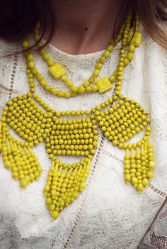 Bold yellow statement necklace