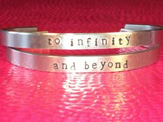 best friend bracelets to infinity and beyond hand stamped cuff bracelets customizable bff gift set of two 23 2 Bff Bracelets, Best Friend Bracelets, Best Friend Jewelry, Bracelet Set, Bangles, Toy Story, 2 Best Friends, Bff Gifts, To Infinity And Beyond