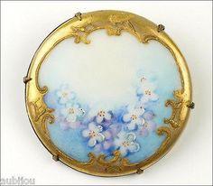 Vintage Porcelain Handpainted Floral Light Blue Forget Me Not Flower Brooch Pin