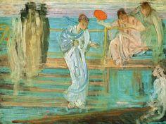 """「白のシンフォニーNo.3」、「灰色のアレンジメント」、「ノクターン:青と金色」・・・、クラシックの曲名ではない。ある画家が名付けた""""絵画のタイトル""""だ。 イギリスで絶大な人気を誇るジェームズ・マクニール・ホイッスラー(1834~1903)。いま、日本で27年ぶりとなるホイッスラーの展覧絵が開かれている。ホイッスラーは、19世紀、ロンドンやパリを拠点に活躍。多くの画家たちが、絵画の革新を目指して格闘を続けていた時代、「音楽が音の詩であるように、絵画は視覚の詩である」と語り、色彩と形のハーモニーに""""美""""を見出そうとした。いち早くジャポニスムに注目。みずから浮世絵などを収集して、構図や色彩を研究するなど、さまざまな模索を重ねた。アメリカのフリーア美術館に収蔵されている、部屋一面の装飾をホイッスラーが作り上げたという大作も紹介。時に厳しい批判にさらされながら、探求を続けた独自の世界とは。"""