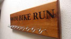 SWIM BIKE RUN Triathlon  Race Medal Display by HobbywoodCreations