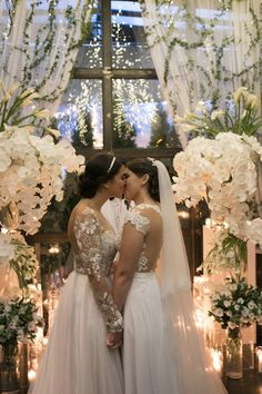 Romantic lesbian wedding photo on a white luxury ceremony decor | Jose Rolon Events - Latinx Lesbian Wedding Two Brides, First Kiss, Special Day, Wedding Details, Wedding Planning, Wedding Day, Wedding Inspiration, Wedding Dresses, Lace
