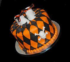 Orange and Black Halloween Themed Baby Shower Cake f785079c0
