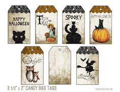 Printable Halloween Tags & Bookmarks - So Cute! - The Graphics Fairy Halloween Treat Boxes, Halloween Tags, Halloween Treats For Kids, Halloween Carnival, Halloween Clipart, Holidays Halloween, Halloween Crafts, Happy Halloween, Halloween Decorations