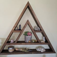 Crystal Shelves and more to enhance your sacred by topazandpine Diy Wooden Projects, Woodworking Projects Diy, Wooden Diy, Wooden Wall Shelves, Floating Wall Shelves, Essential Oil Shelf, Crystal Shelves, Geometric Shelves, Triangle Shelf