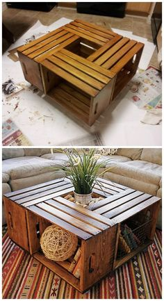 22 DIY Coffee Tables to show off your expertise - Page 17 of 23 DIY Wine Crate Coffee Tab. - 22 DIY Coffee Tables to show off your expertise - Page 17 of 23 DIY Wine Crate Coffee Table I have to say that wine boxes are one of my favorite c. Home Design Diy, Design Ideas, Creative Design, Creative Ideas, Creative Decor, Diy Coffee Table, Ideas For Coffee Tables, Wooden Crate Coffee Table, Wood Pallet Coffee Table