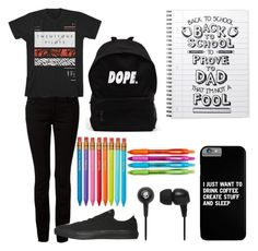 """""""back to school"""" by xcreepygirlx ❤ liked on Polyvore featuring T By Alexander Wang, Converse, Skullcandy and Paper Mate"""