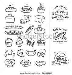 Line icons of bread and other bakery products from which you can create a cool vintage logo for groceries, bakeries, cakery, shops and restaurants. Editable vector set