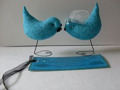 Up Scale Turquoise Blue Love Birds Weddings Baby by Rue23Paris