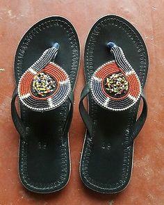 Masai handmade beaded leather lady sandals flipflops summer wear simple footwear