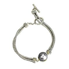 Black Pearl Sterling Silver Bracelet with 18K Gold Accents | Cirque Jewels