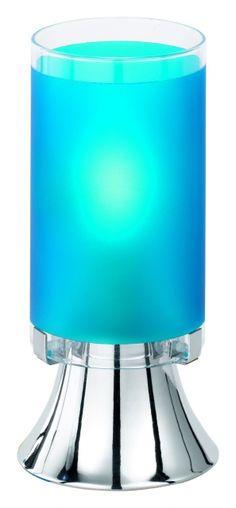 TUBE - TRIO-stolná lampa - chróm+modré sklo