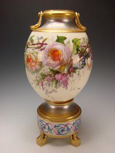 Antique Old Paris Porcelain Platinum Gilt French Vase Signed P Hartwig from hideandgokeep on Ruby Lane