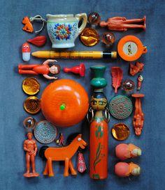 orange dolls + toys