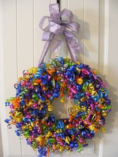 What a fun wreath to make, and it would look so great on the door to celebrate a Birthday!