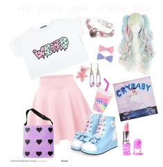 """the pastel goth starter pack"" by grace-buerklin ❤ liked on Polyvore featuring Lime Crime, tumblr, pastelgoth, melaniemartinez and starterpack"