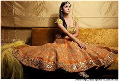Gorgeous Bridal #Lehenga by Mayyur R Girotra https://www.facebook.com/MayyurRGirotraCouture (w/ Maang Tikka on forehead)
