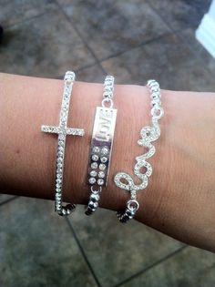 Skinny Sideways Crystal Cross Bracelet in by PrettyPreciousJwlry, $15.00