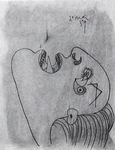 Picasso. Cabeza de mujer, 20 de Mayo de 1937 Lápiz y aguada sobre papel, 29 x 23,2 cm.  Estudio para el Guernica. (Todos los bocetos están expuestos junto al Guernica en el Museo Reina Sofía de Madrid.)